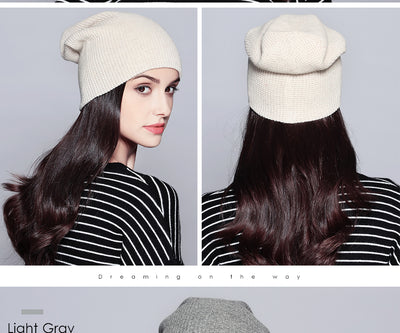 Fashion Autumn Hats For Women Cotton Knitted