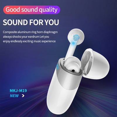 Cobblestone Design Bluetooth 5.0 Headset Portable Stereo Wireless Touch Control Earbuds Earphone For Huawei Iphone Xiaomi Mobile