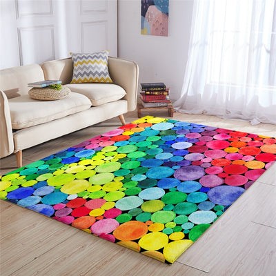 Outlet Colorful Large Carpets for Living Room Rainbow Circles Rug