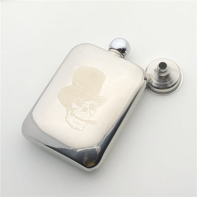Skull Smoking Flagon 304 Stainless Steel 170ml Flask Alcohol Bottle