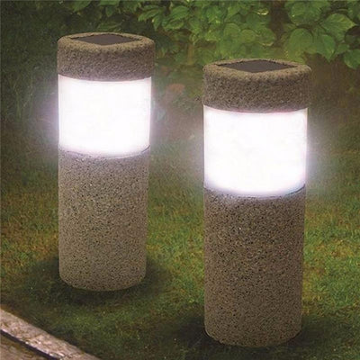 White LED Solar Power Stone Pillar Lights Outdoor Waterproof Garden Light 6v