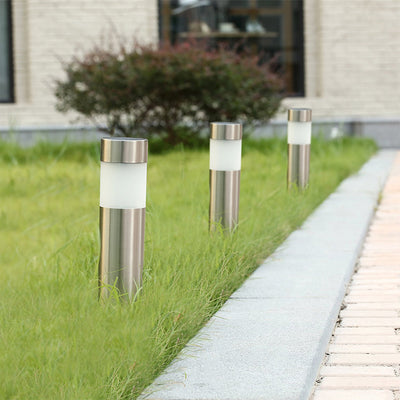 Outdoor Garden Stainless Steel Solar Light Waterproof Landscape Decoration Lamp White