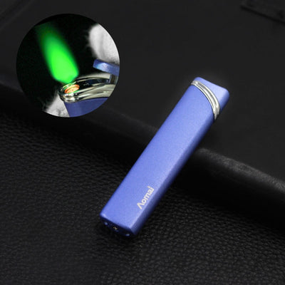 Cigarette Lighter 1300C Green Fire Thin Strip Jet Lighter Butane Lighter Inflated Gas Windproof