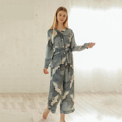 New Print Crane Women Sleepwear Pajamas Set Autumn Spring Long Sleeve 2 Pcs
