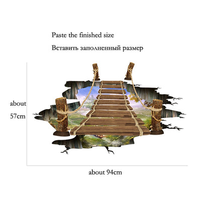 Broken wall sticker decoration 3D drawbridge simulation Floor/wall stickers for kids rooms