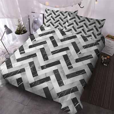 Black White Golden Duvet Cover Set 3-Piece Marble Texture Bedding Set