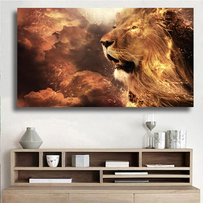 Lion Head Fire Modern Wall Art Canvas  For Living Room Unframed
