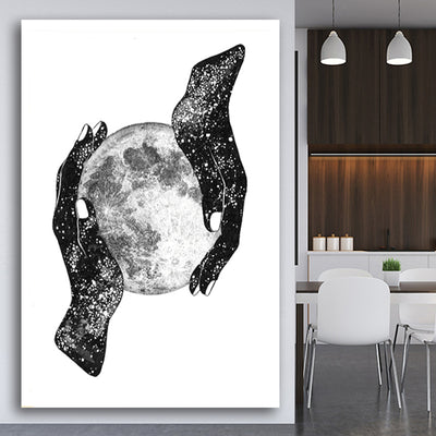 Wall Art Magic Of Moon Sparkling Hands Modern On Canvas Home Decor No Frame