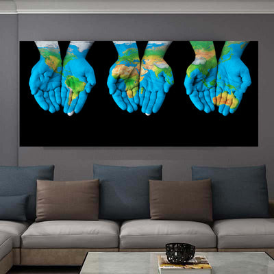 ART World In Hands Black Background Inspired Wall Pictures Canvas Painting