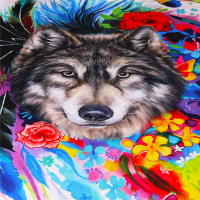 Bedding Set Queen for Adults Bright Rainbow Flower Wolf Duvet Cover Set