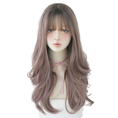 CW01 Black Wavy Long Wig for Women Natural Soft Heat Resistant Wig With Fringe Trendy Hairstyle Wig