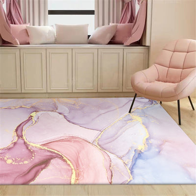 RC-04 Square Rugs Pink Gold Oil Painting Abstract Carpet Girls Room Purple 3D Rugs Bedroom