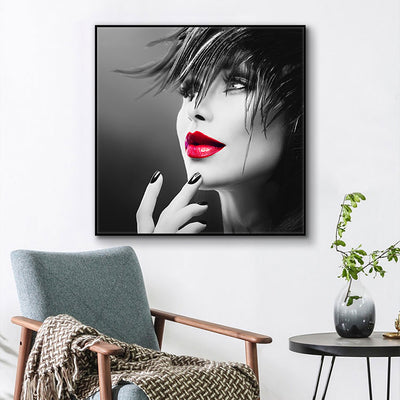 Women Face With Red Lip Oil Painting on Canvas Scandinavian Wall Art Picture