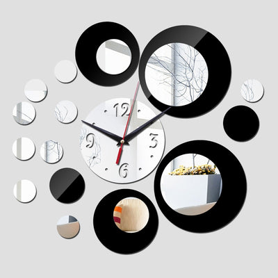 silver big flower acrylic wall clock 3d