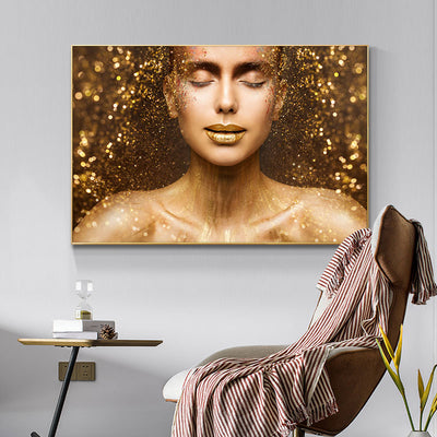GW-01 Gold Sexy Woman Face with Gold Lips Canvas Painting Wall Art Picture