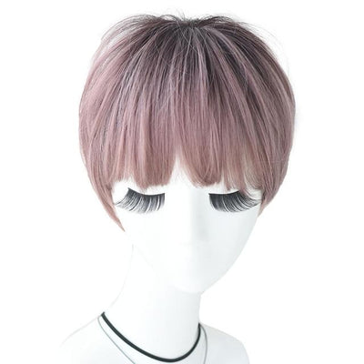 CW07 Cosplay Wigs 2 Tone Ombre Pink Short Ramy Hair With Bangs Lolita Wig For Women