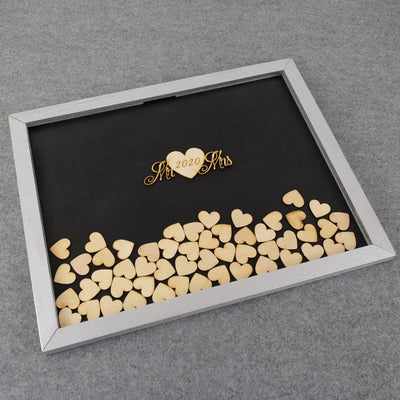 Wooden Drop Box Memory 100 pcs Heart Top Box Guestbook Alternative Guest Gift For Couple