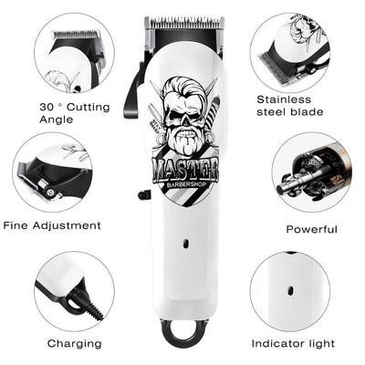 HC-25 Powerful Hair Clippers Professional Barber Electric hair Cutting Cool Classic striped skull White