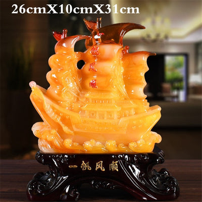 Lucky Gift Resin Sailing Decoration Living Room Office Desktop Decoration/ Shop Opening Lucky Gifts