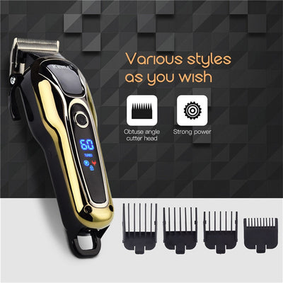 HC-29 Professional Hair Clipper Beard Trimmer T-Blade 0mm Machine Shaver Rechargeable Hair Cutting Set
