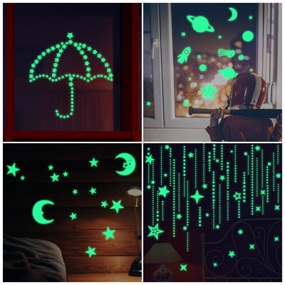 Glow in the dark DIY 3D Bubble Luminous Stars Moon Dots Wall Sticker for kids room bedroom home decoration