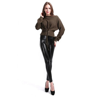 Women High Waist  Faux Leather Legging  Large Size Plus  S-5XL