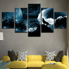 Blue Moonlight Forest Wolf Howl Painting Canvas HD Print Pictures Wall Art 5 Pieces