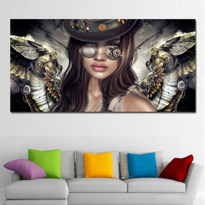 AW-07 Steampunk Angels Glasses Wall Art Pictures Painting canvas