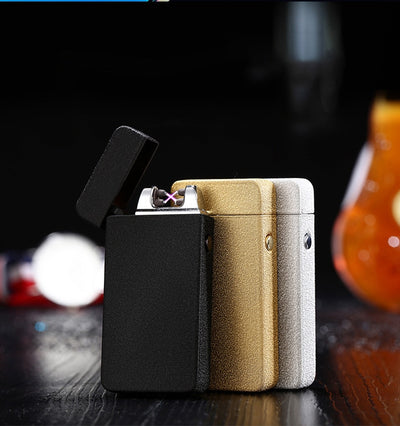 "LT-28 Plasma Lighter Flip up Lighter Windproof Double Arc ""Free Laser Logo"""
