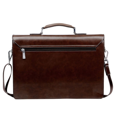 Briefcase Business Man Bag Lock PU Leather
