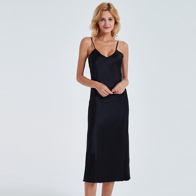 Sexy Women Nightgown Long Dress  Deep-V Sleepwear  Silk Stain