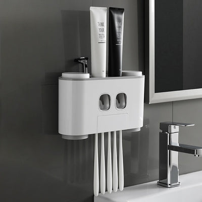 Bathroom Automatic Toothpaste Dispenser Wall Paste Mounted Toothbrush