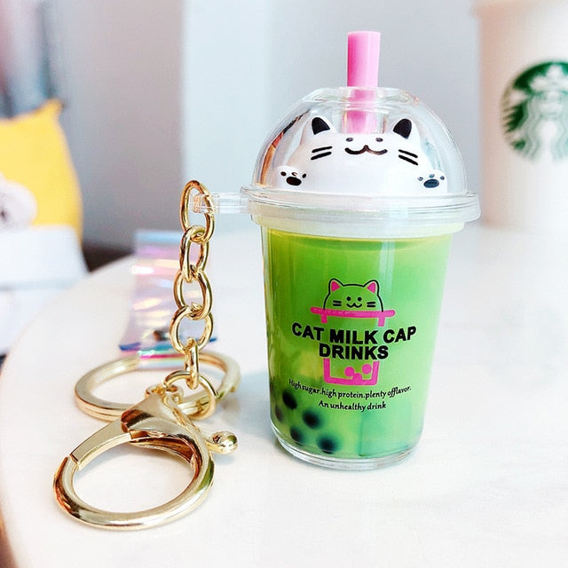 Cartoon Cat Keychain | Mini Milk Tea Pendant