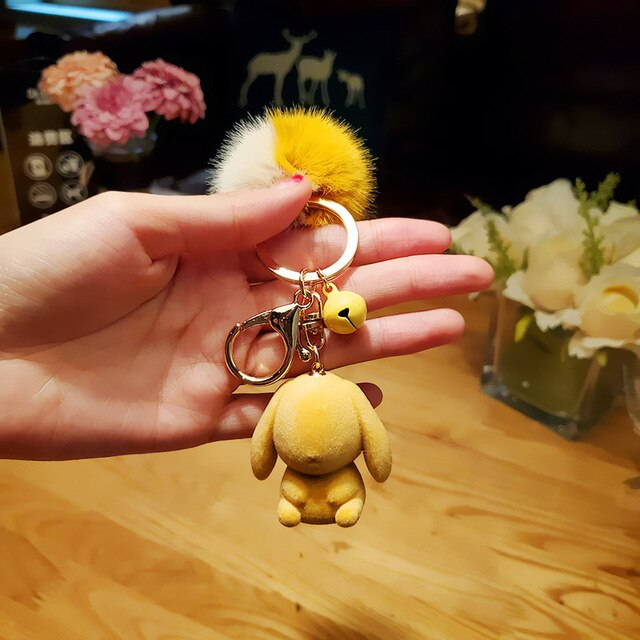 Pompom Fur Plush Rabbit Keychain | Kawaii Charms