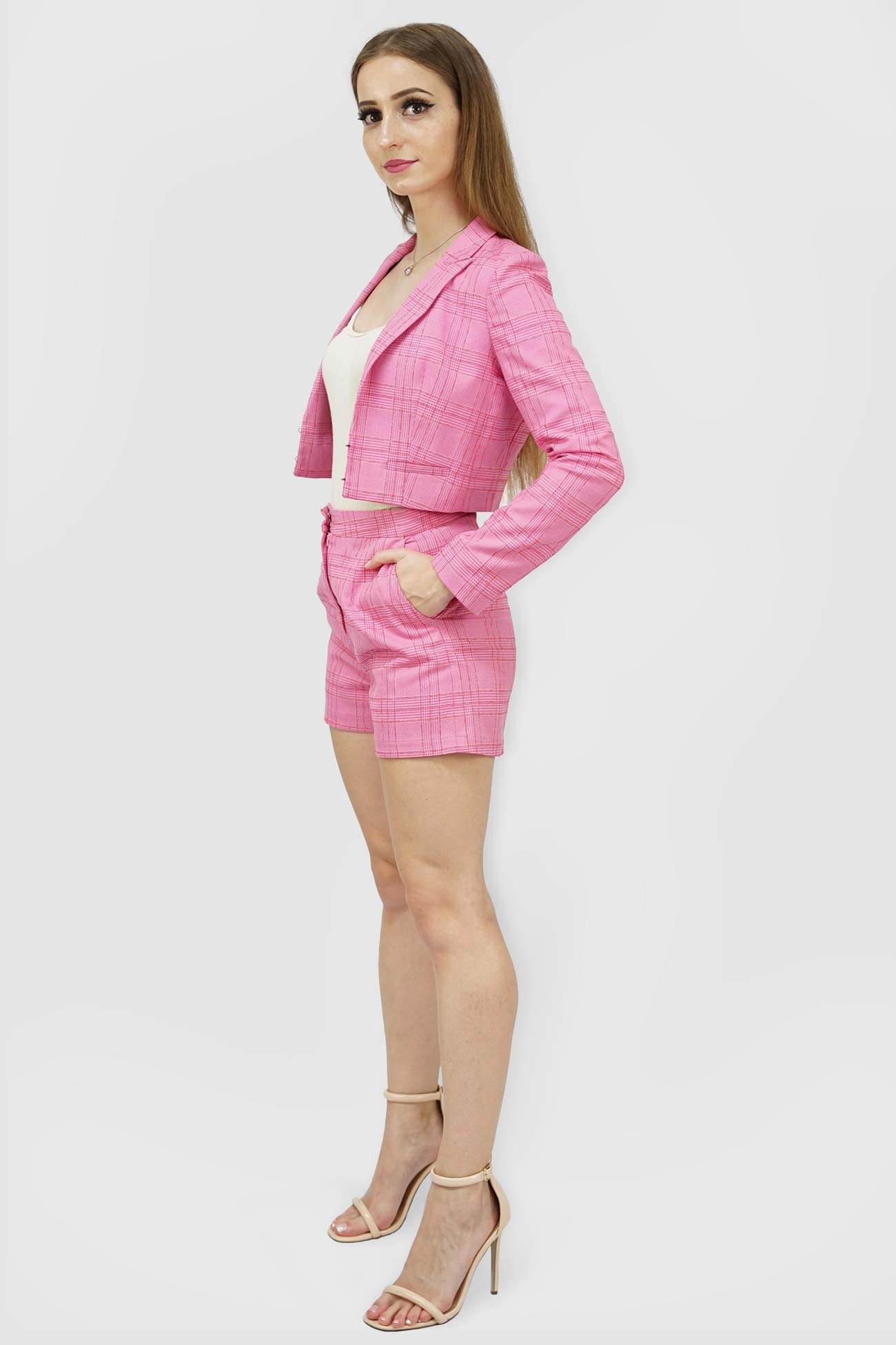 Blazers | Candy Plaid Open Cropped Blazer_2 | Style & Suit