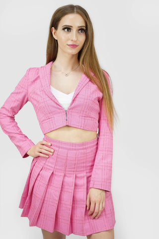 Blazers | Candy Plaid Open Cropped Blazer_1 | Style & Suit