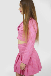 Blazers | Candy Plaid Open Cropped Blazer_3 | Style & Suit