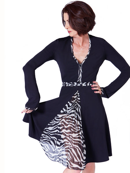 The Dream Dress® by Lorelei Shellist shown in black with zebra print trim and scarf