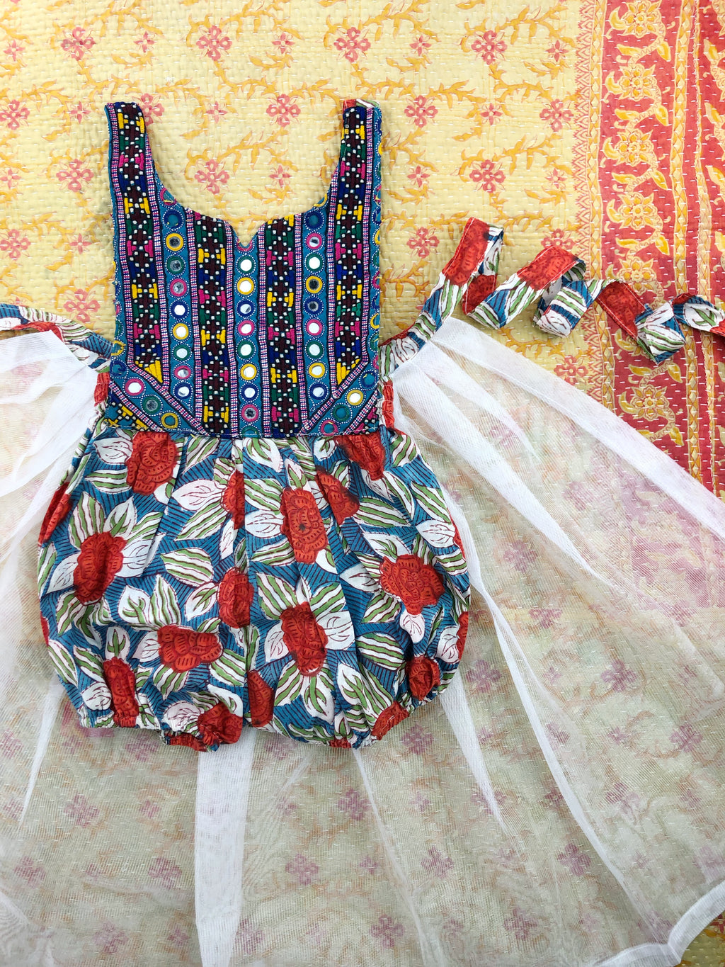 3T-Banjara romper with tulle print wrap skirt
