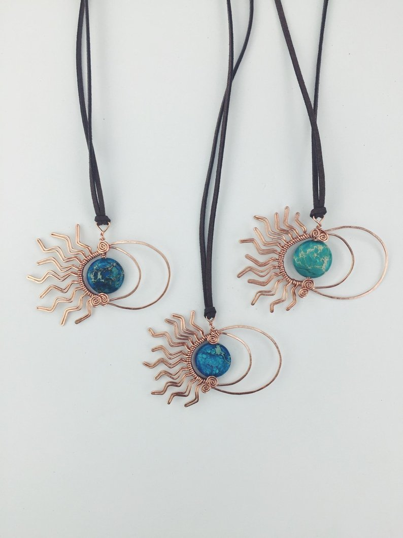 Moonchild mommy and me copper sun & moon necklace