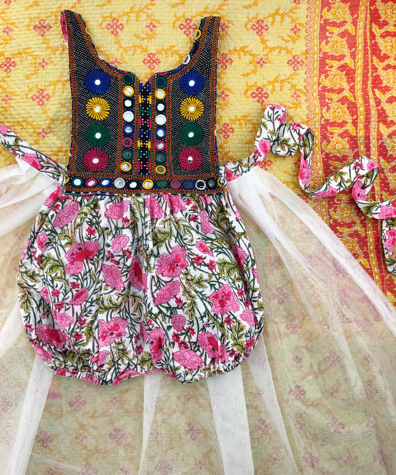 4/5 Years-Banjara romper with tulle wrap skirt