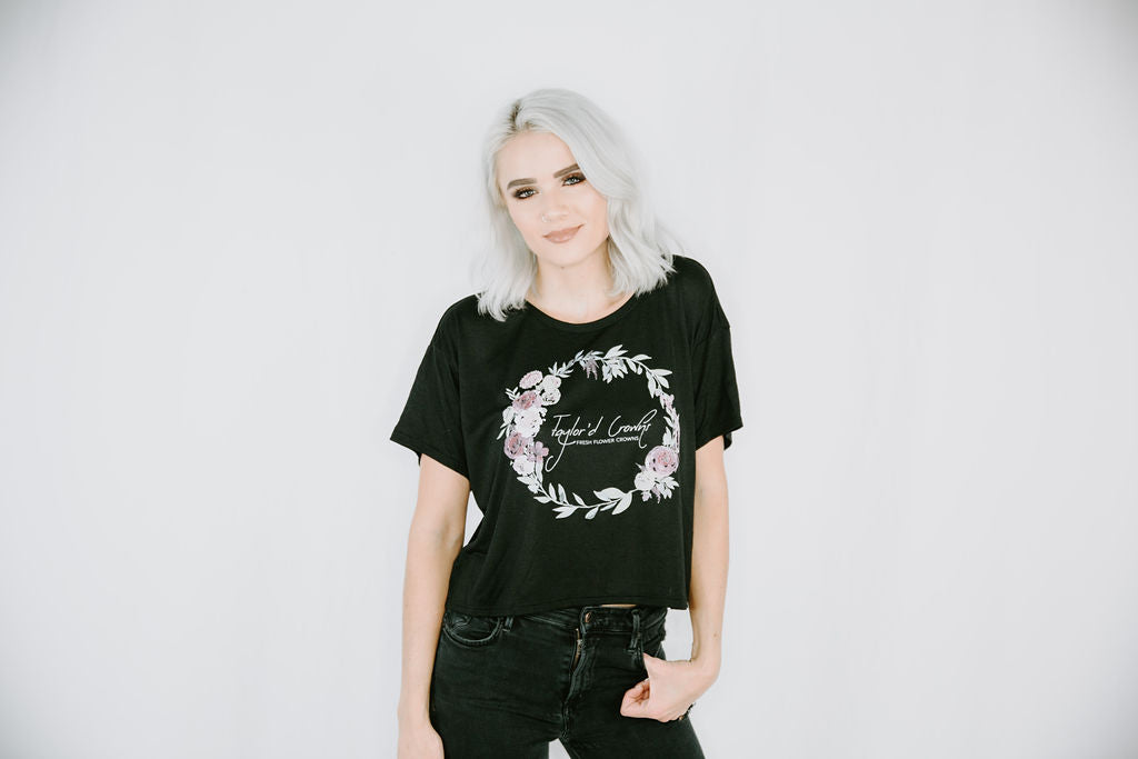 Flower Crown Women's Boxy Tee- Black