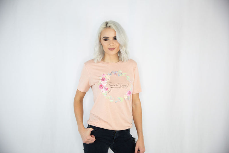 Flower Crown Unisex Triblend Tee- Peach
