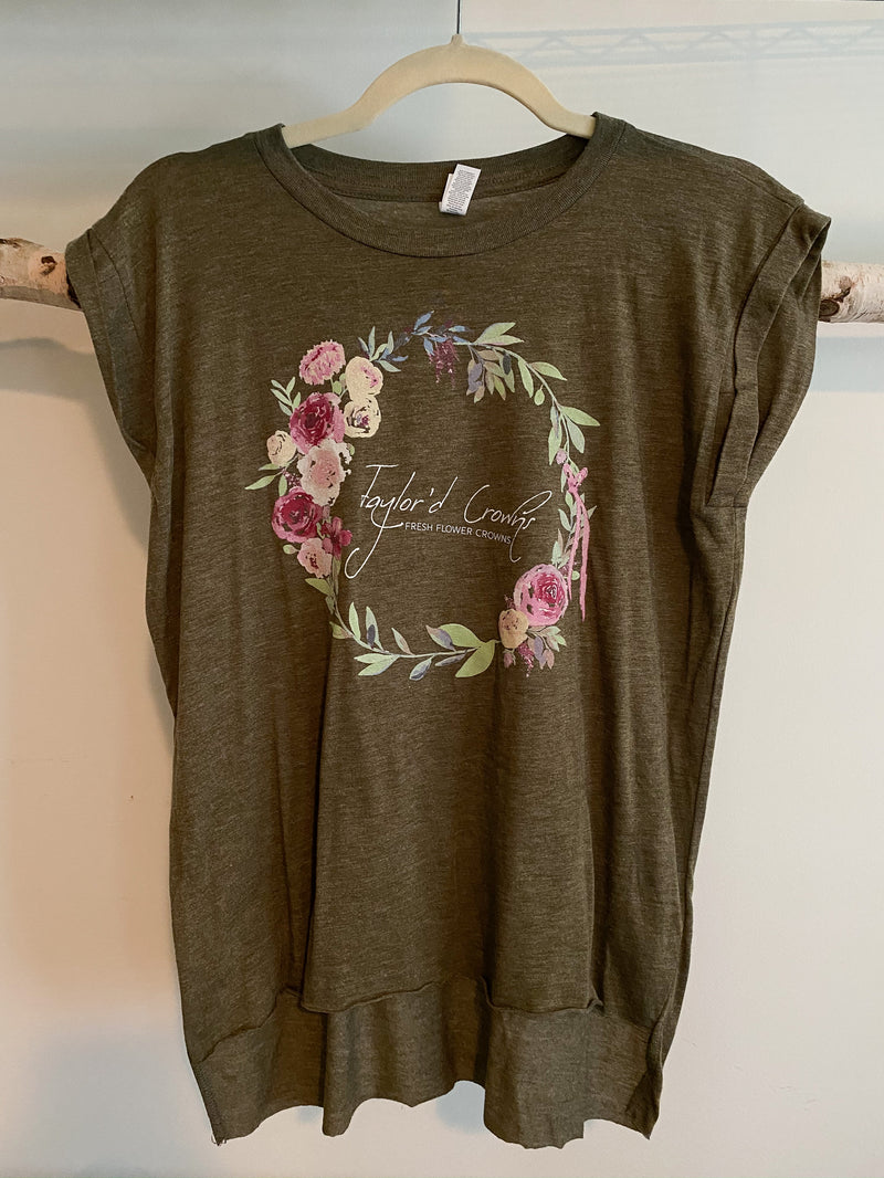 Flower Crown Flowy Muscle Tee w/ Rolled Cuff- Heather Olive