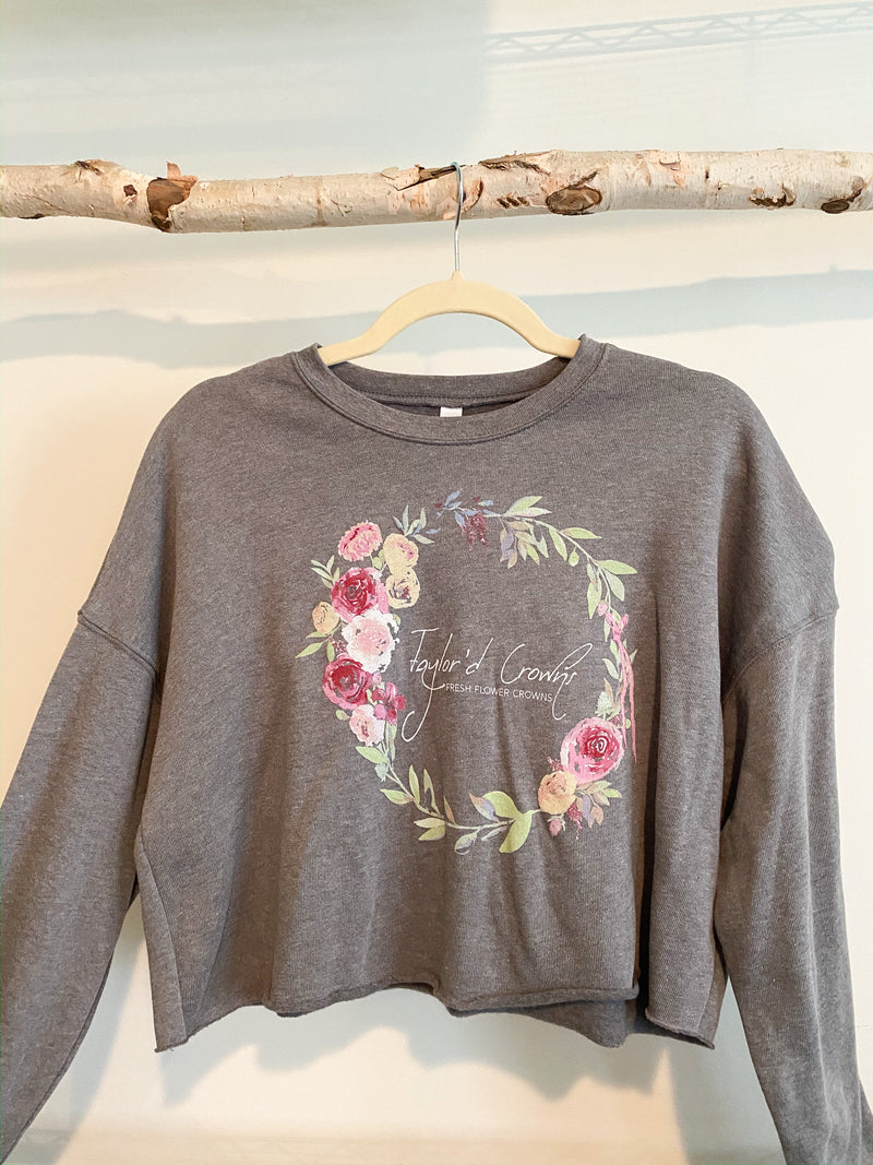 Flower Crown Cropped Crew Fleece- Deep Heather