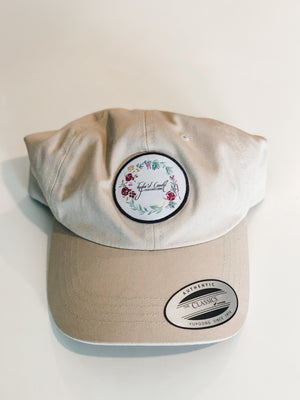 Unstructured Classic Dad's Woven Patch Crown Hat- Stone