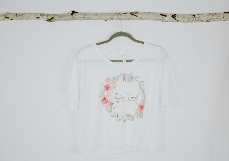 Flower Crown Women's Boxy Tee- White