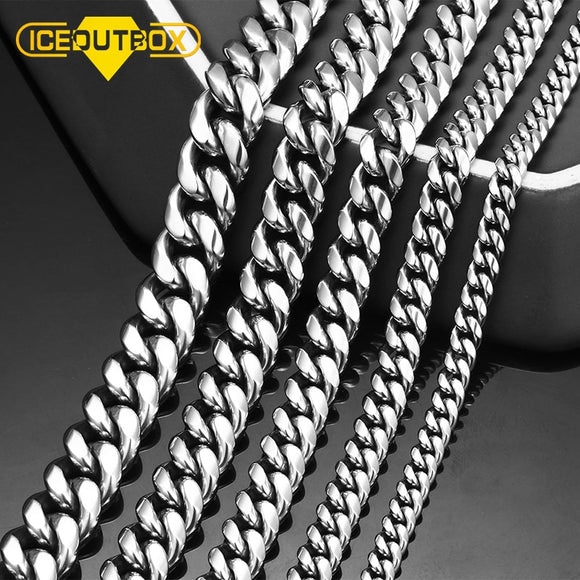 ICEOUTBOX Men's Cuban Link Chain Stainless Steel