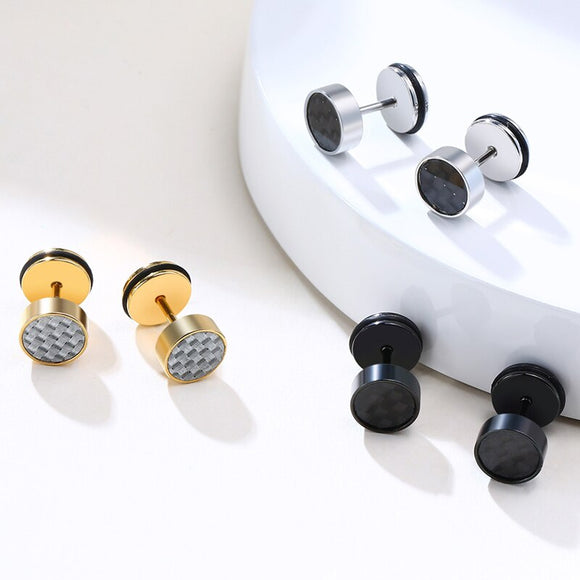 Stainless Steel Round Stud Earrings for Men Women with Carbon Fiber Post Earrings Dad Gifts