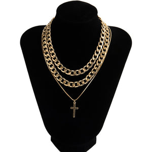 Cross And Cuban Link Chains Combo